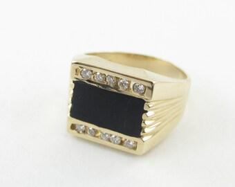 14K Yellow Gold Men's Diamond And Onyx Ring, 14k Gold Men's Gemstones Ring Size 10 1/2
