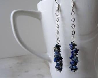 Raw Lapis Lazuli earrings - Denim Lapis earrings - chain link earrings - royal blue earrings - long chain earrings - alternative wedding