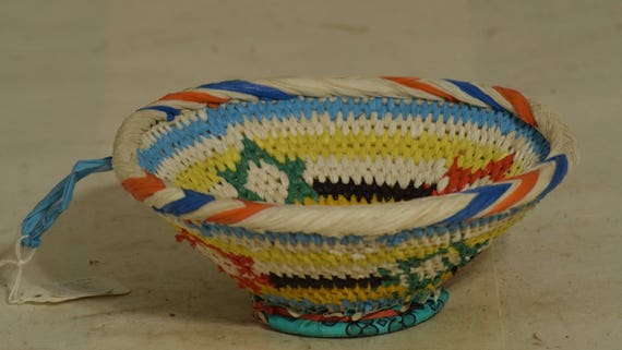 African Basket Botswana Red Blue Yellow Plastic Fiber Colors South Africa Handmade Hand Woven Palm Women Plastic Bags Storage  Food Basket