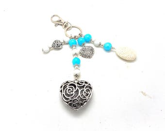 A scent! silver plated bag charm, turquoise beads and white heart charms charms and co.