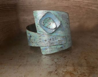 Rustic turquoise cuff, riveted inked layers, distressed textured copper bracelet