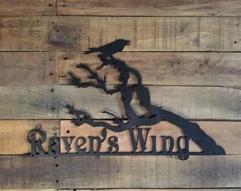 Raven - Outdoor Metal Art - Ravens Sign - Raven Garden Art - Ravens - Raven's Wing Custom Sign