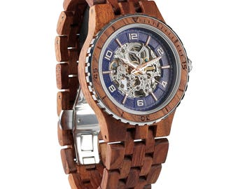 2017 Newest Premium Automatic Wooden Wrist Watch For Men, Natural Handcrafted Gift Idea for Him, Band Adjustment Tool Included, Kosso