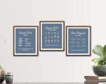 Laundry Room Prints, Laundry Instructions, Laundry Symbols Print, Laundry Room Wall Art