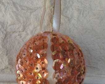 Handmade Peach Sequined And Cream Ribbon Christmas Tree Bauble In Quarters - Free Shipping
