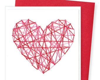 STRING HEART / red & pink heart on white