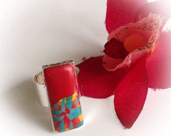 Ring, two-tone, red, rectangle, set shaped, polymer clay
