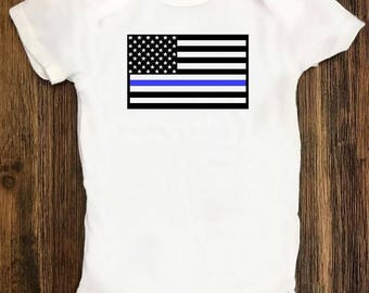 Back the Blue Onesie, Baby clothing, Infant, Thin Blue Line