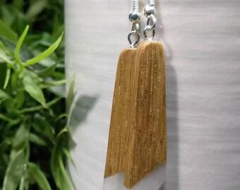 Handcrafted wooden earrings, oak & epoxy