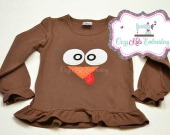 Thanksgiving Shirt, Turkey Shirt, Turkey Applique Shirt, Turkey Face Shirt, Girls Turkey Shirt, Boys Turkey Shirt, Embroidery