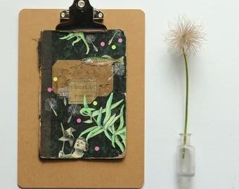 """Illustration, collage """"le moulin à vent"""".Peinture acrylique aquarelle originale sur couverture de livre ancien.Pièce unique."""