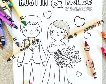 Custom Bespoke Wedding Coloring Page: Digital PDF