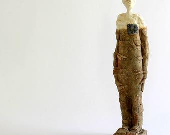 Blue and Man,Ceramic Sculpture, Unique Ceramic Figurine, Ceramic People