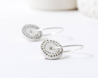 Porcelain Hoop Earring - Platinum Dots Hoop Earrings - Dotty Earrings - Sterling Silver Hoops - Simple Earrings - Everyday Hoops -