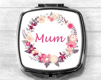 Mum Compact Mirror, Cosmetic Mirror, Pocket Mirror, Mother Gift, Mother's Day, Mothering Sunday, Mother's Day Gift, Wedding Gift