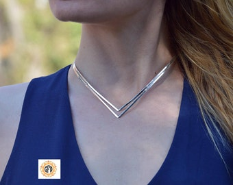 Chevron choker necklace,Silver choker necklace,Women choker silver,Chokers,Chevron choker,Choker Jewelry,Mother's day gift,Jewellry chokers.