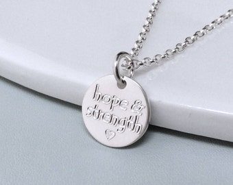 Hope and strength necklace, hope jewellery, motivational gift; inspirational gift, sterling silver, strength jewellery