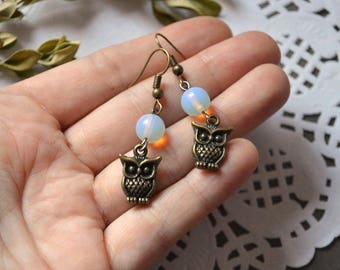 bronze jewelry owls gemstone jewelry patriotic gifts for friends fashion jewelry owl earrings women Gift moonstone Cute earrings Little gift