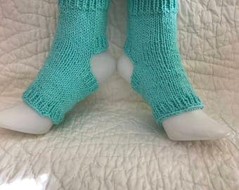 100% Cotton Yoga Socks  Toeless  Pilates dance pedicure hand knit handmade