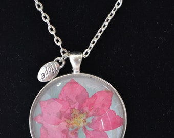 Pressed Flower Pendant, real flowers, silver,