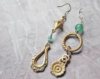 Vintage Assemblage Jewelry, Assemblage Earrings, OOAK, Recycled Jewelry, Summer, Gold, Statement Earrings, Mismatched Earrings, Boho Jewelry
