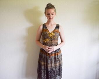 Vintage Summer Dress, 90s Dress, Paisley Floral Dress Large, Knee Length Dress L, Boho Dress, Black and Brown Sleeveless Dress