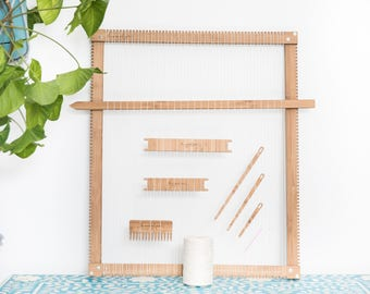 Le grand bambou Mama tissage métier à tisser, des outils et chaîne en coton
