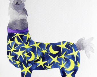 Whimsical art, original art, watercolor painting, llama art, nursery art, kids room art, whimsical animal art, one of a kind art, nursery