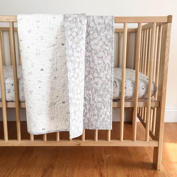 Baby Toddler Quilt - Sleep Tight in White - MADE-to-ORDER - bunny baby quilt, grey crib quilt, metallic silver quilt, unicorn baby bedding