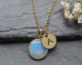 Opalite Necklace -  October Birthstone Necklace - Gold Necklace - October Birthstone Jewelry Jewellery - Personalized Initial Necklace - A97