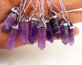 Amethyst crystal necklace, purple amethyst stone, natural amethyst, amethyst pendant, amethyst necklace, amethyst jewelry, amethyst crystals