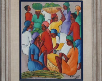 Original Acrylic Painting by Maurice Guerre-Haitian Men and Women