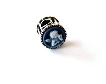 Blue cameo charm Cherubs angels pandora bracelet italian cameo jewelry donadio agate stone cameo Charme camée カメオの魅力 Камея браслет