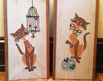 Wall Art Wall Decor Wall Hangings Cat Lover Gift Cat Decor Cat Art Cat Gift for Cat Lovers Mid Century Folk Art Vintage Art Vintage Cat Art