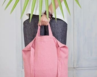 Pink tote bag, Linen market bag, Linen hobo bag, Shoulder tote, Natural linen bag, Bag with pocket, Beach tote, Summer Bag