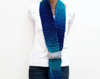 Handmade Knit Scarf, Boho Neckwarmer, Sparkly Scarf, Blue And Gray, Navy Blue, Silver Strap, Tricolor Accessories, Classic Scarves, Chic
