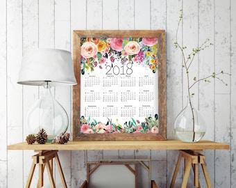 2018 Calendar Printable, Floral Calendar, 2018 Calendar, Large Calendar, Yearly Calendar, Calendar Printable, Calendar 2018, Yearly, BD7020