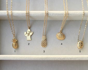 Nature's Wonders Gold Minimalist Necklace— Pick your favorite: Pineapple (3D), Cactus, Pineapple, Seashell, Coffee Bean