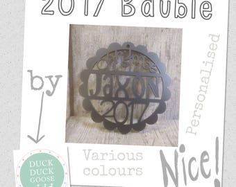 Personalised Christmas Bauble 2017 by Duck Duck Goose