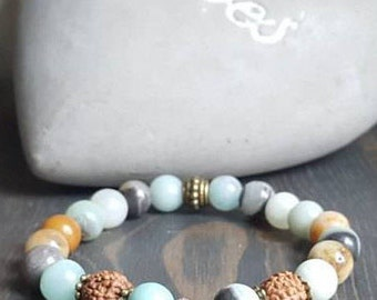 Stones fine amazonite and rudraksha bracelet