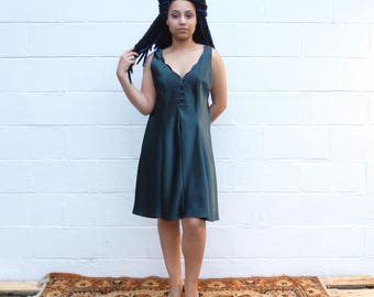 90s vintage silky evergreen button-up mini slip dress