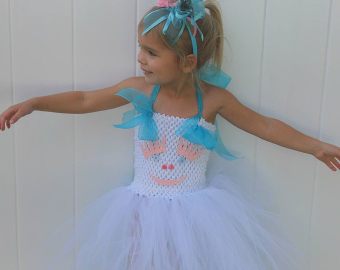 Unicorn costume, girls Halloween costume, Unicorn dress, white and aqua blue tutu dress,Unicorn headband