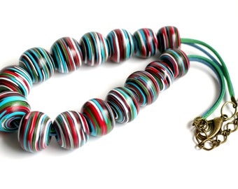 Modern necklace Striped beads necklace Women's necklaces Big necklace Big beads necklace Contemporary necklace Unique jewelry for her