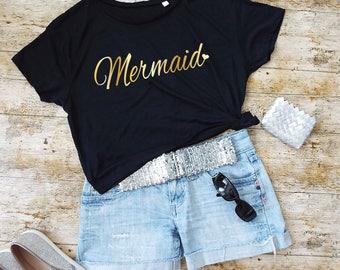 Mermaid T-Shirt. Cropped Tee. Mermaid Shirt. Mermaid Tee. Mermaid Gift.
