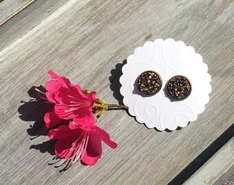 Faux Druzy earrings bronze gold 12 mm earrings earrings stud earrings gold sparkling earrings handmade