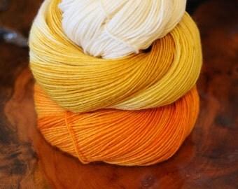 "Hand Dyed ""Candy Corn"", 4 Ply Sock, Knitting, Crochet, Yarn"