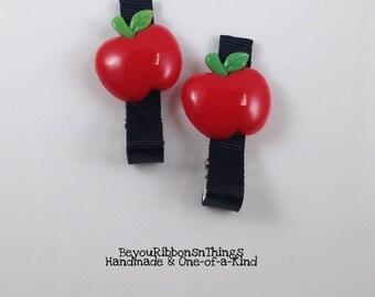 Red Apples | Hair Clips for Girls | Toddler Barrette | Kids Hair Accessories | Black Grosgrain Ribbon | No Slip Grip