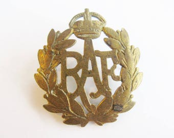 RAF Cap Badge WWII Royal Air Force Great Britain UK United Kingdom WW2 Brass Military Cotter Slide