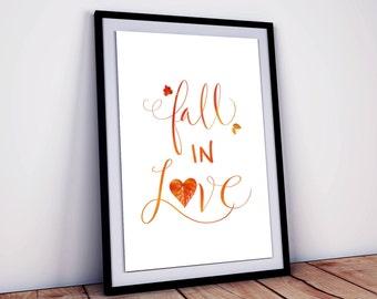 Fall In Love Quote | Fall Quote | Digital Download | Fall Leaves Print | Fall Art | Autumn Leaves Print | Autumn Art | Seasonal Art