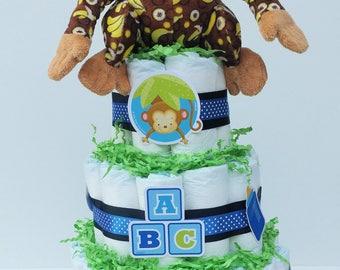 Monkey Themed Diaper Cake
